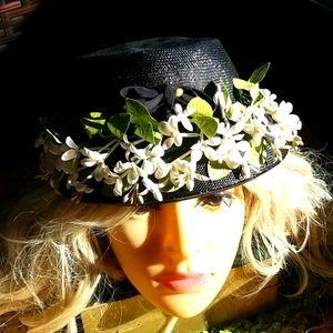 50's 60's Garden Floral Navy Cream Flowers Hat EVC